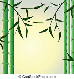 bamboo stalks with leaves