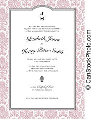 Vector Pink Damask Frame Easy to edit Perfect for wedding...