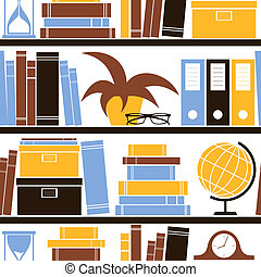 Bookshelf Seamless Pattern