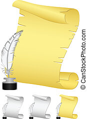 roll and feather 2 - Vector image of old rolls of paper with...