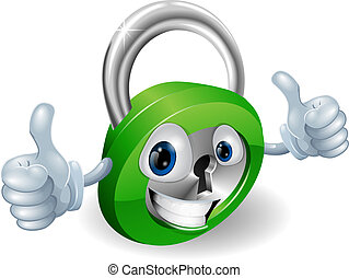 Thumbs up padlock cartoon character - Happy padlock security...