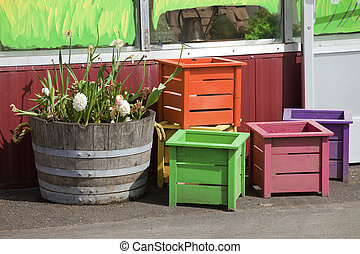 Wooden crates and old half barrell. - Wooden crates and old...