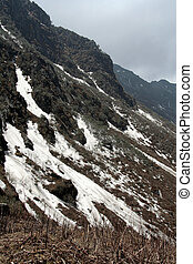 Ice Capped Mountain Slope - Icy mountain slope near Tsomgo...