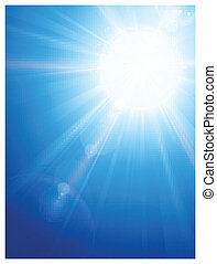 Blue sky with sun and lens flare - Sky background with a...