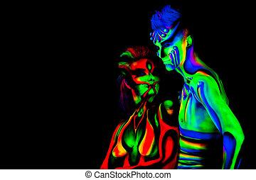 hombre, mujer, fluorescente, bodyart, negro, Plano de fondo,...