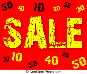 The text sale 10, 20, 30, 40, 50