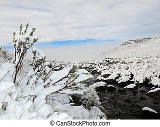 Snow landscape - Winter snow landscape in the high Maluti...
