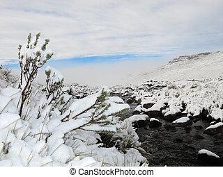Snow landscape - Winter snow landscape in the high Maluti...