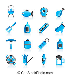 Grilling and barbecue icons - vector icon set
