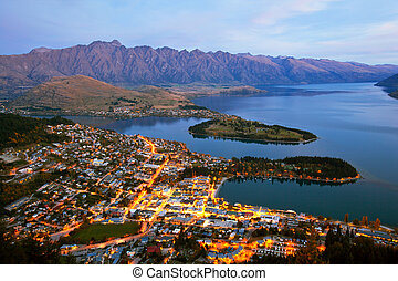 Queenstown New Zealand - Queenstown downtown aerial view New...