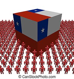 Chile flag cube with people - Chile flag cube surrounded by...