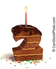 number two shaped chocolate cake - number two shaped...