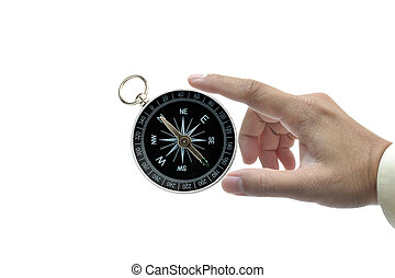 Compass - Classic compass in business hand on white...