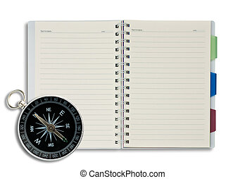 Compass - Classic compass on open blank notepad background.