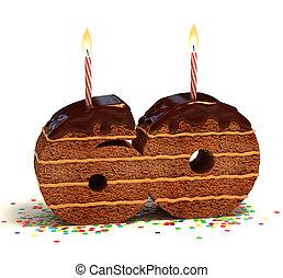number 60 shaped chocolate cake - Chocolate birthday cake...