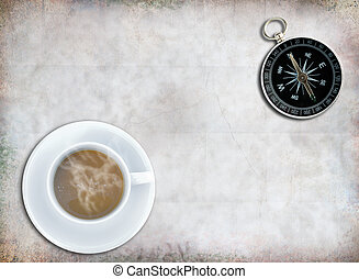 Compass - Classic compass and coffee cup on grunge paper...