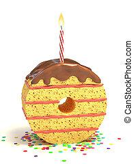 number zero shaped cake
