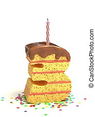 number three shaped cake