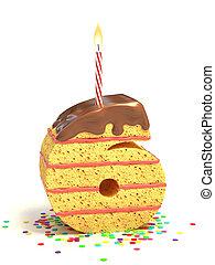 number six shaped cake