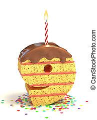 number nine shaped cake