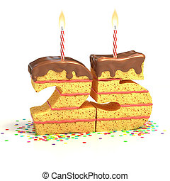 number 25 shaped cake - Chocolate birthday cake surrounded...