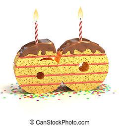 number 60 shaped cake - Chocolate birthday cake surrounded...