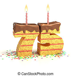 number 75 shaped cake - Chocolate birthday cake surrounded...