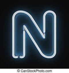 neon font letter n 3d illustration