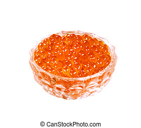 Red caviar Salmon roe in glass jar