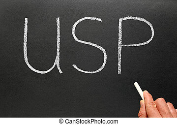 USP, Unique Selling Point business phrase abbreviation.