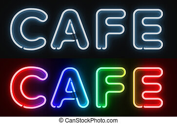 cafe neon sign 3d illustration