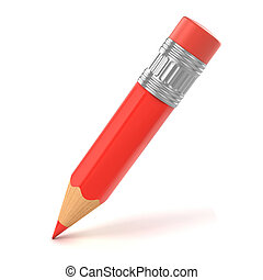 small red pencil 3d illustration