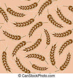 Spikes of wheat Seamless pattern
