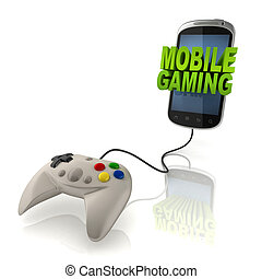 mobile gaming 3d concept - smart phone with gamepad