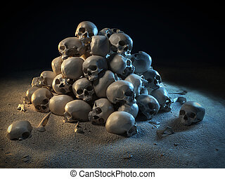 pile of skulls in the dark 3d illustration