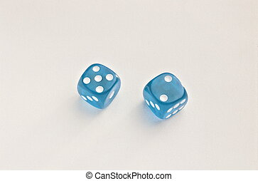 Blue rolling dice
