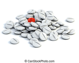 medical pills - one red pill surrounded by white ones 3d...