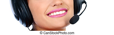 Closeup portrait of a happy young call centre employee...