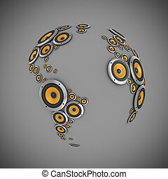 planet of sound 3d illustration - many loudspeakers forming...