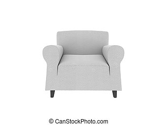 This 3 d image white leather armchair
