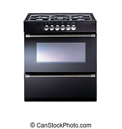 Modern metallic oven isolated on white