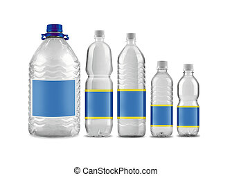 Bottled water in 5 sizes isolated