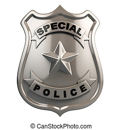 police badge isolated 3d illustration