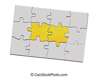 Jigsaw puzzle piece with keyhole