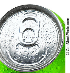 Close Up of a Soda Can with Pull Tab and Condensation