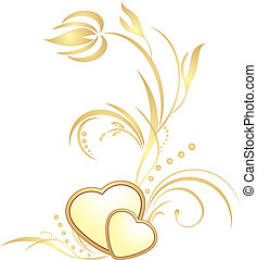 Golden hearts with decorative sprig. Vector illustration