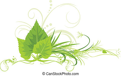 Birch leaves with grass and decorative ornament. Vector...