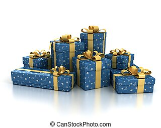 blue gift boxes with golden ribbon