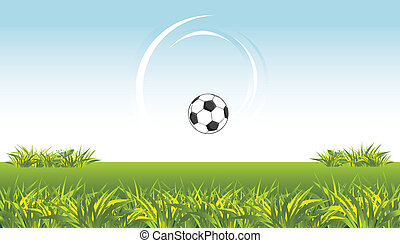 Soccer ball on the meadow. Vector illustration