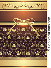 Decorative background with bow - Golden bow on the...
